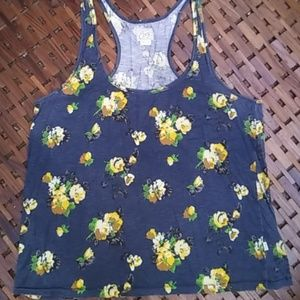 Obey tank top blue yellow flowers